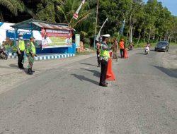 Mendukung PPKM Level 4 Kota Medan, Polres Sergai Giat Pos Penyekatan di Dolok Masihul